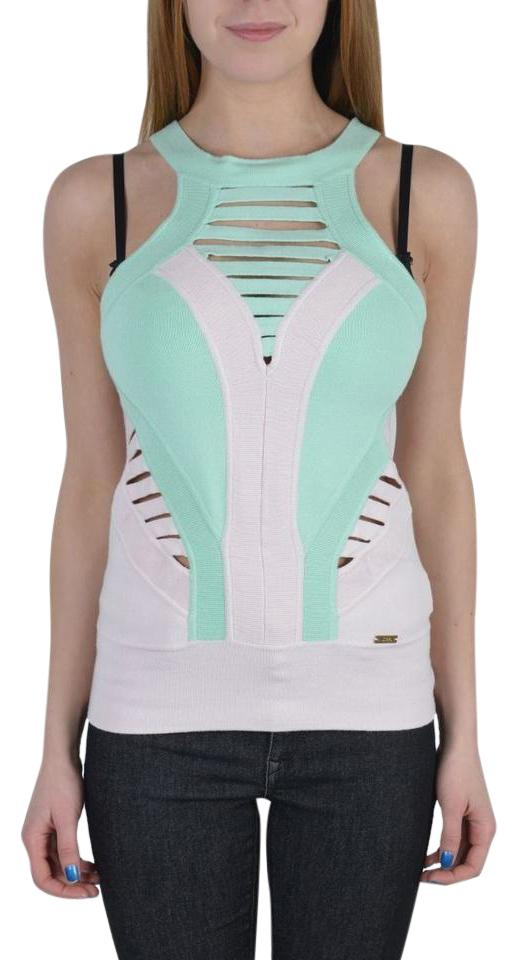 328253ee064862 Just Cavalli Green Pink Multi-color Knitted Sleeveless Women s Tank Top Cami