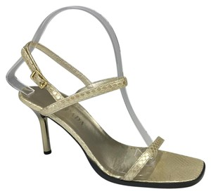 Escada Snake Leather Strapy Gold Sandals