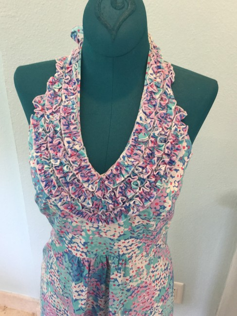 Lilly Pulitzer short dress Purple, blue, white Ruffle Halter Floral on Tradesy
