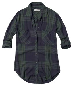 Abercrombie & Fitch Button Down Shirt Green and Navy Plaid