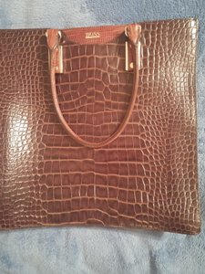Hugo Boss Leather Lizard Skin Shoulder Bag
