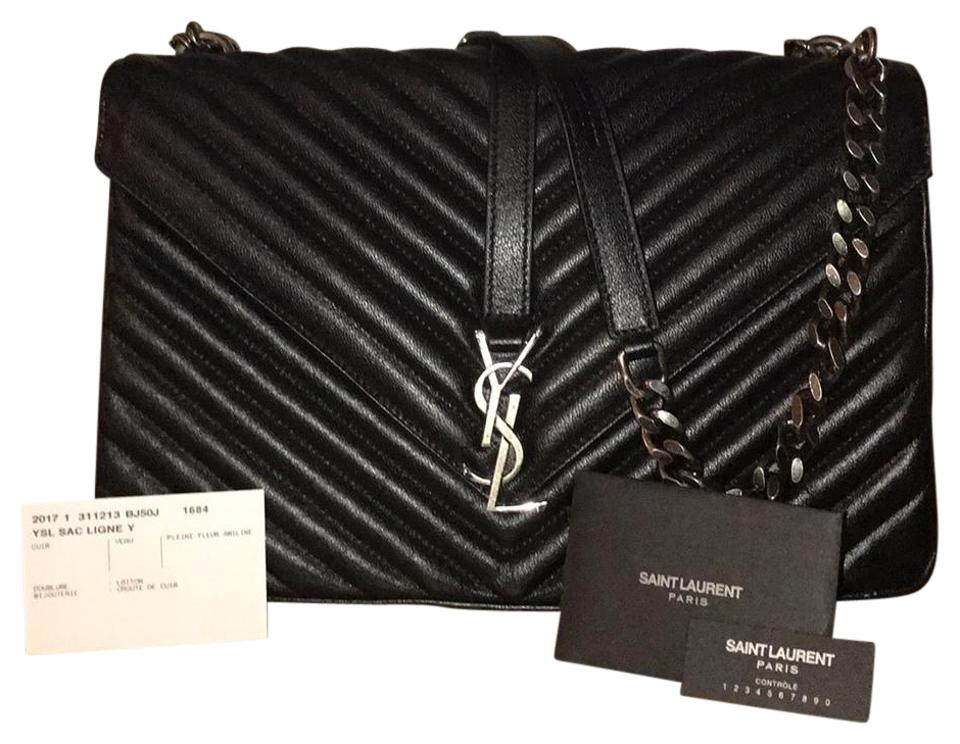 9232f1e0bf0 Saint Laurent Ysl Monogram Large Black Matelasse Leather Shoulder ...
