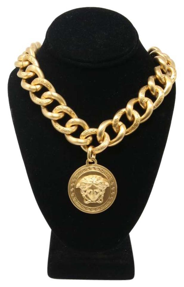 Versace gold signature medusa medallion chunky luxury 14k plated versace signature medusa medallion chunky luxury 14k plated gold necklace mozeypictures Image collections