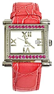 Lucien Piccard Lucien Piccard Ladies stainless steel diamond and red stone watch with date