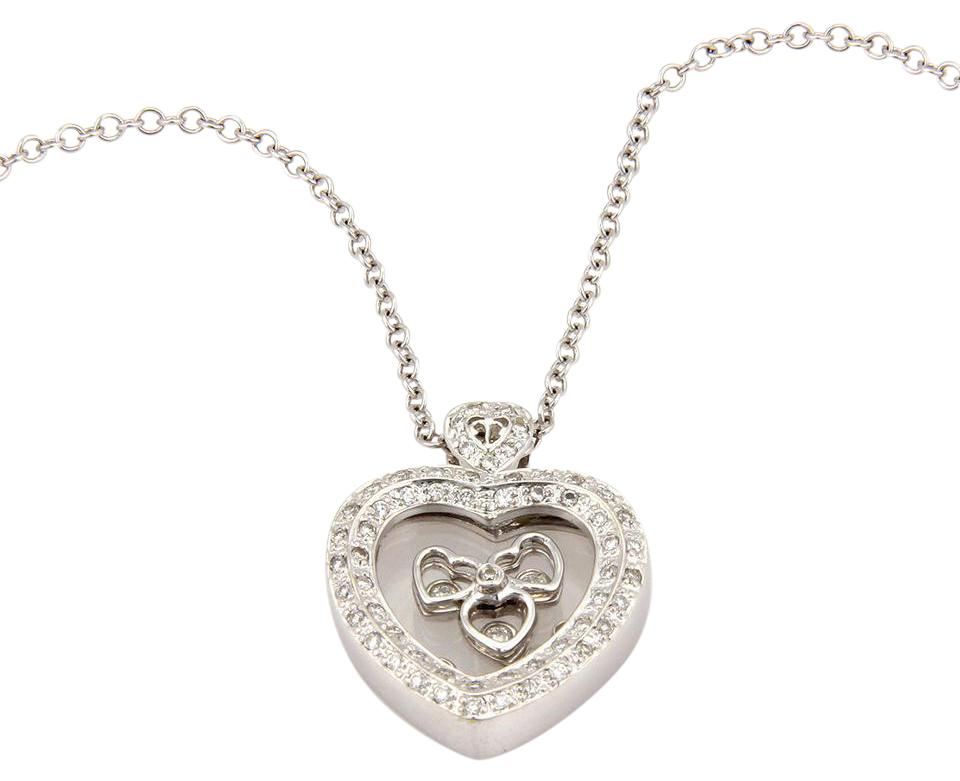 White gold estate 14k italian floating diamond heart pendant none estate 14k white gold italian floating diamond heart pendant necklace aloadofball Images