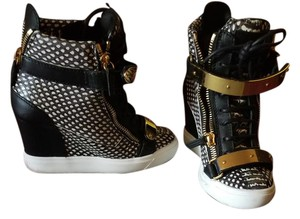 Giuseppe Zanotti High Street Leather Sneakers White and Black Wedges