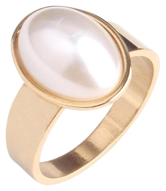 Item - High Polish Gold Stainless Steel Imitation Oval Ladies Ring