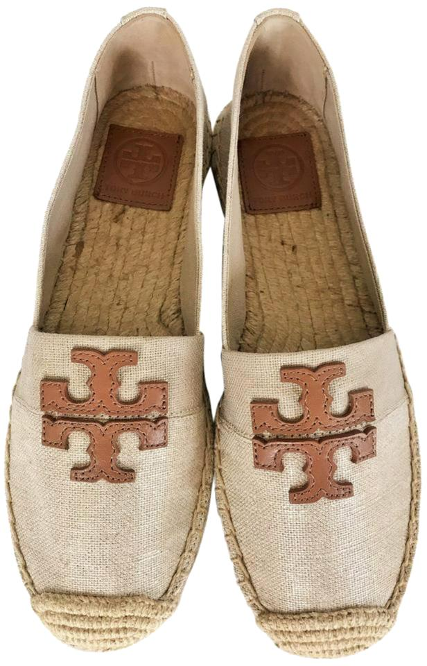 66c1a6c278b Tory Burch Natural Royal Tan Weston Canvas Espadrilles Flats Size US ...