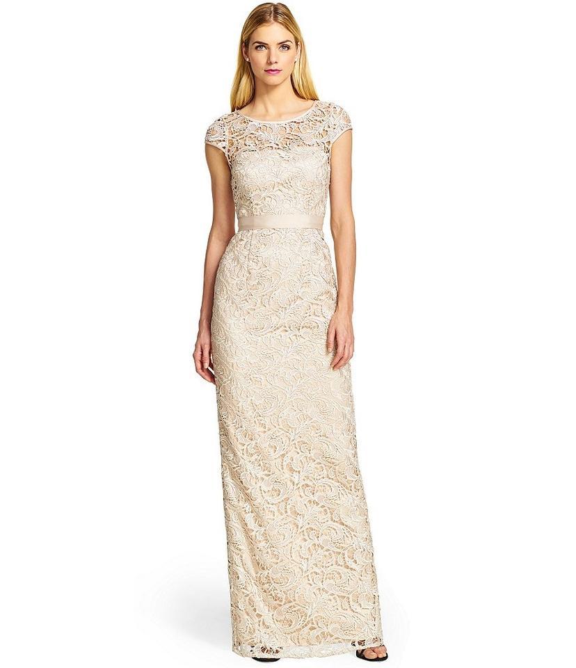 8d64c1db1c6 Adrianna Papell Lace Gown Cap Sleeve Evening Bridesmaid Dress Image 7.  12345678