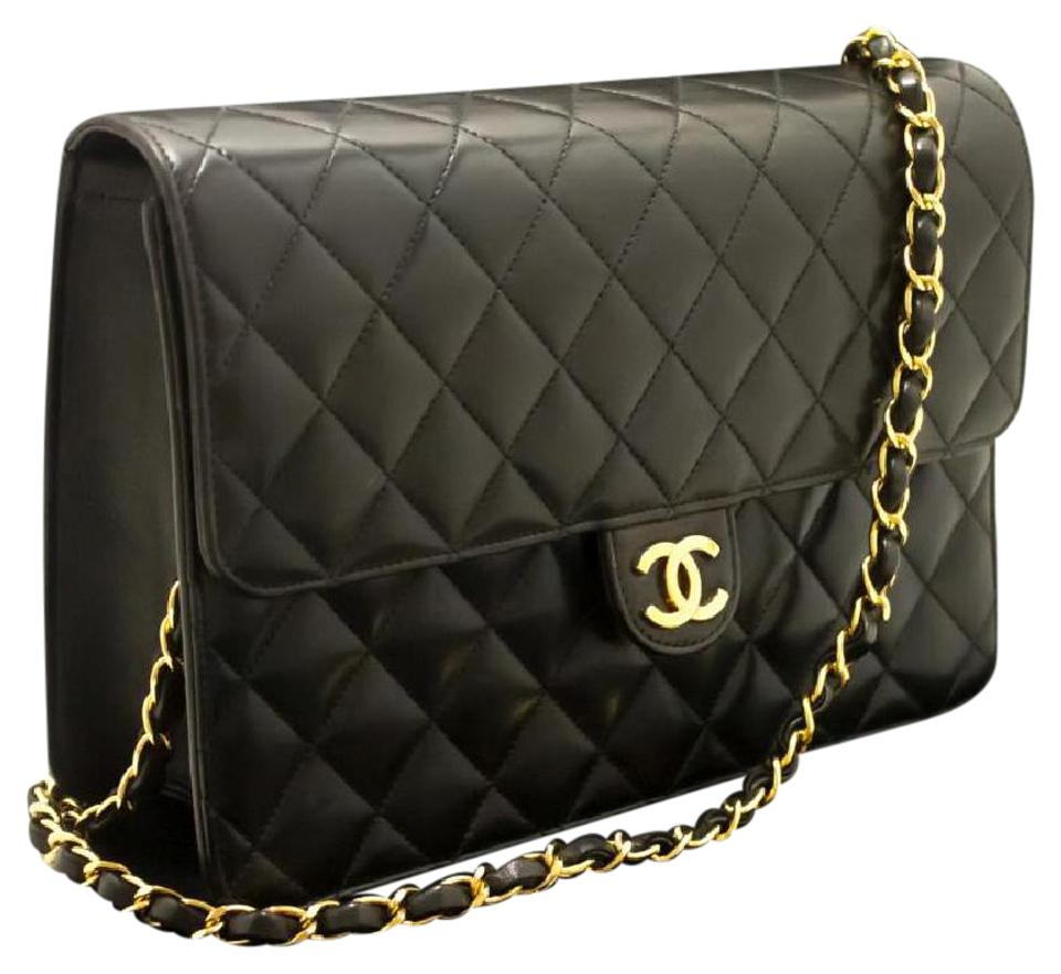 b8fae727ff3c76 Chanel Classic Flap Two Ways Single Chain Black Lambskin Leather Shoulder  Bag
