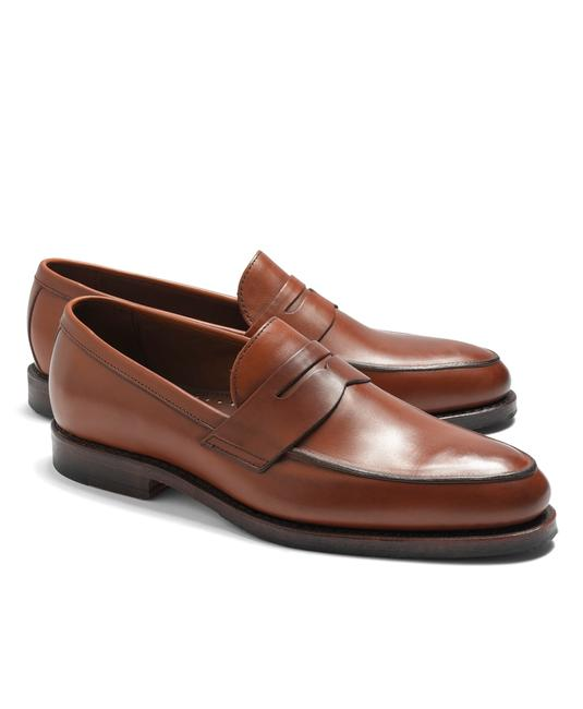Item - Brown Leather Penny Loafers Men D Low Vamp Moc To Formal Shoes Size US 10.5 Regular (M, B)