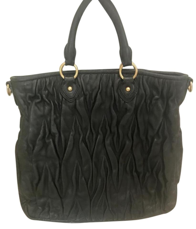 d0fe5dcb215 Miu Miu Matelasse Leather Handbag Black Shoulder Bag - Tradesy