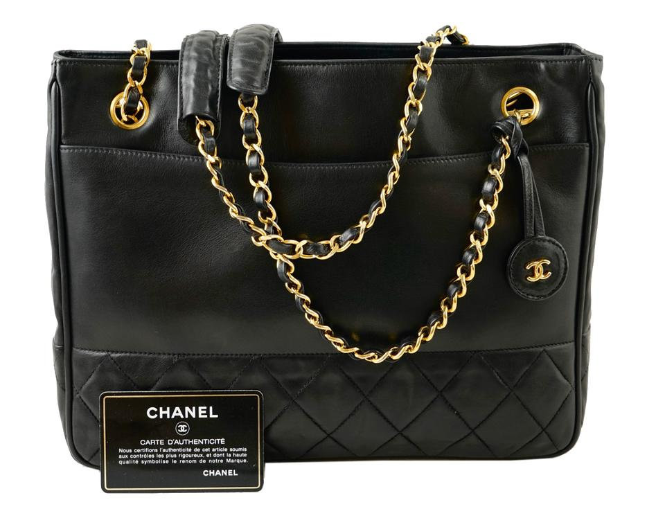 Chanel Shopping Tote Quilted Matelasse Cc Logo Chain Black Lambskin ... af419567f5