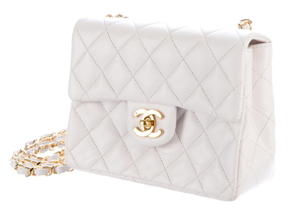 0a735d66c6b8 Chanel 2.55 Reissue Classic Mini Flap Quilted Cc Logo Small Square  Crossbody White Gold Lambskin Leather Shoulder Bag