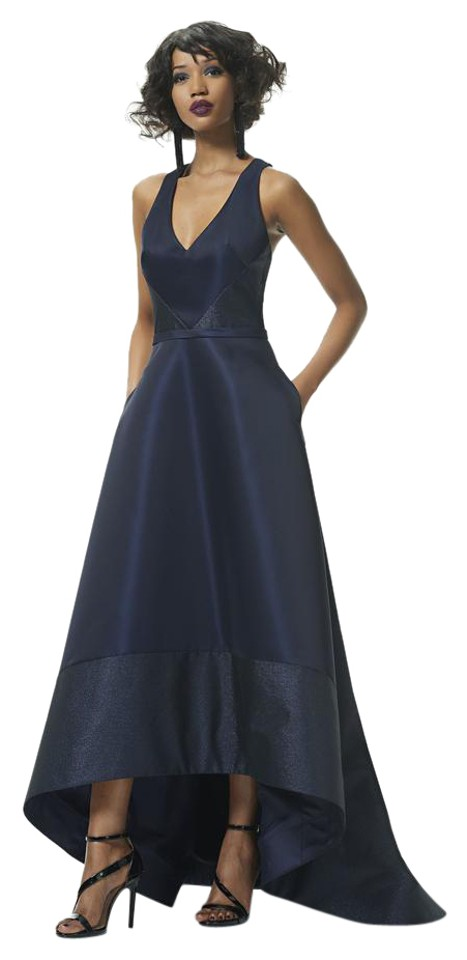 Theia Midnight Blue Sleeveless Metallic Trim Taffeta High Low Gown