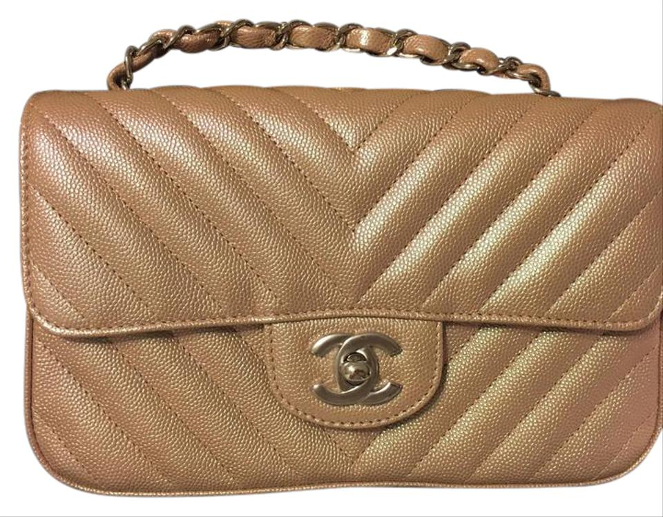 Chanel Mini Classic Rosegold Chevron Caviar Leather Cross Body Bag ... 5bfe32a6d0e51