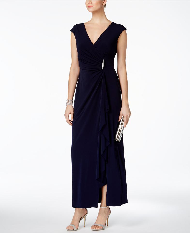 Connected Apparel Navy Ruched Faux-wrap Gown Long Formal Dress Size ...