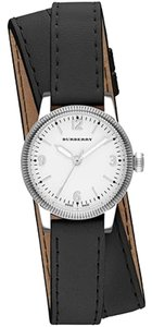 Burberry Burberry Women's Swiss The Utilitarian Silver Black Leather Double Strap 30mm BU7845