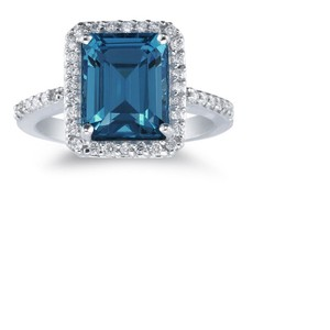 Apples of Gold Emerald-Cut London Blue Topaz and Diamond Ring