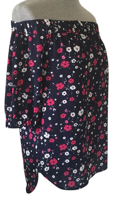 Item - Blue Pink White New Off The Shoulder Floral Blouse Size 2 (XS)