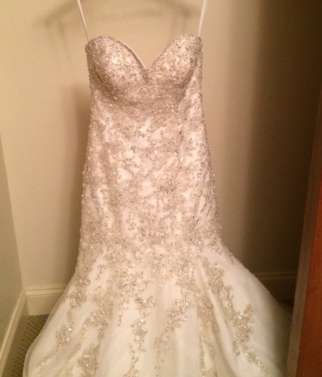 Allure Bridals Ivory Organza Couture Formal Wedding Dress Size 4 (S) Image 5