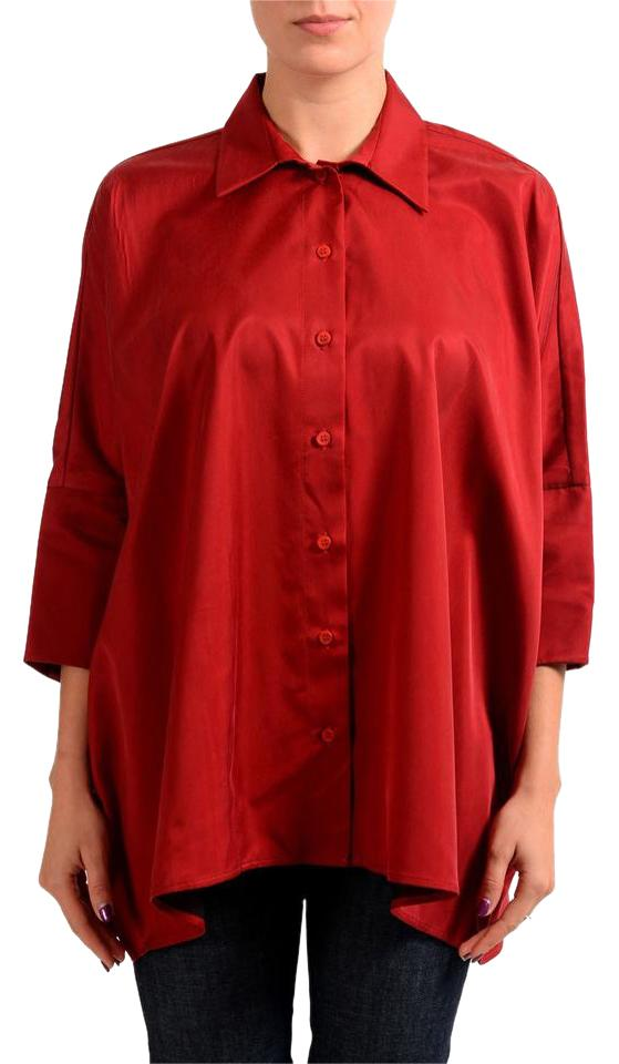 b728eb9d MM6 Maison Martin Margiela Red Women's 3/4 Sleeve Blouse Button-down Top