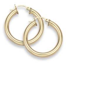 "Apples of Gold 14K Gold Hoop Earrings - 1"" diameter (4mm thickness)"