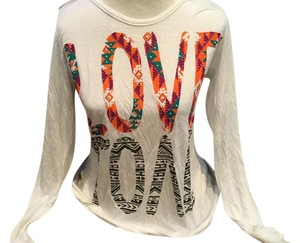 "Classix Free Spirit ""Love"" Sequenced Love Hippie Blouse Sweater"