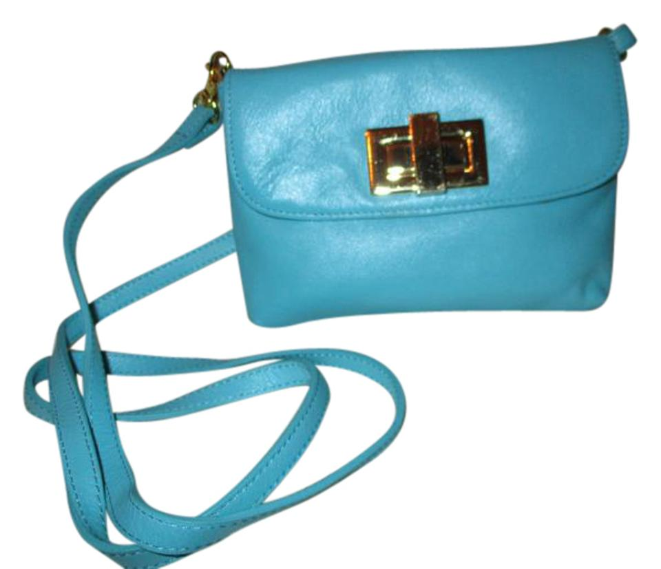 Rowallan Clutch Turquoise Leather Cross Body Bag 60 Off Retail