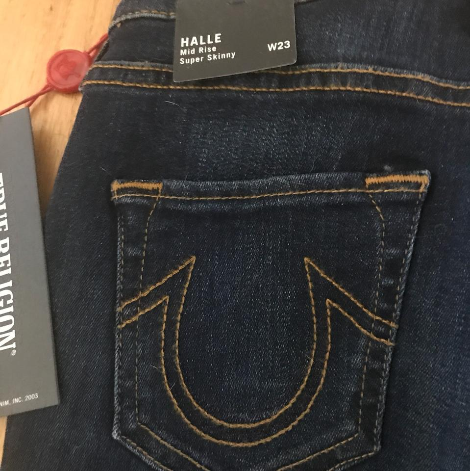 ec4bfe750 True Religion Blue Dark Rinse Halle Mid Super Skinny Jeans Size 23 ...