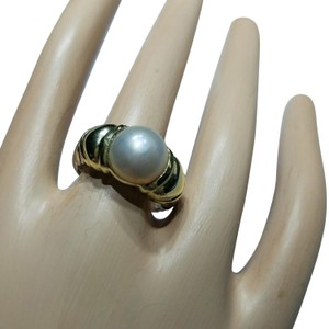 David Yurman David Yurman 925 SS, 14K Gold Cable Pearl Ring Size 6