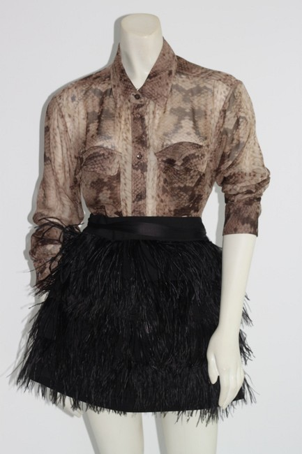 Item - Beige Silk Snake Print Blouse Button-down Top Size 6 (S)