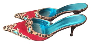 Donald J. Pliner Red. Turquoise, Bronze and Leopard hairskin Mules