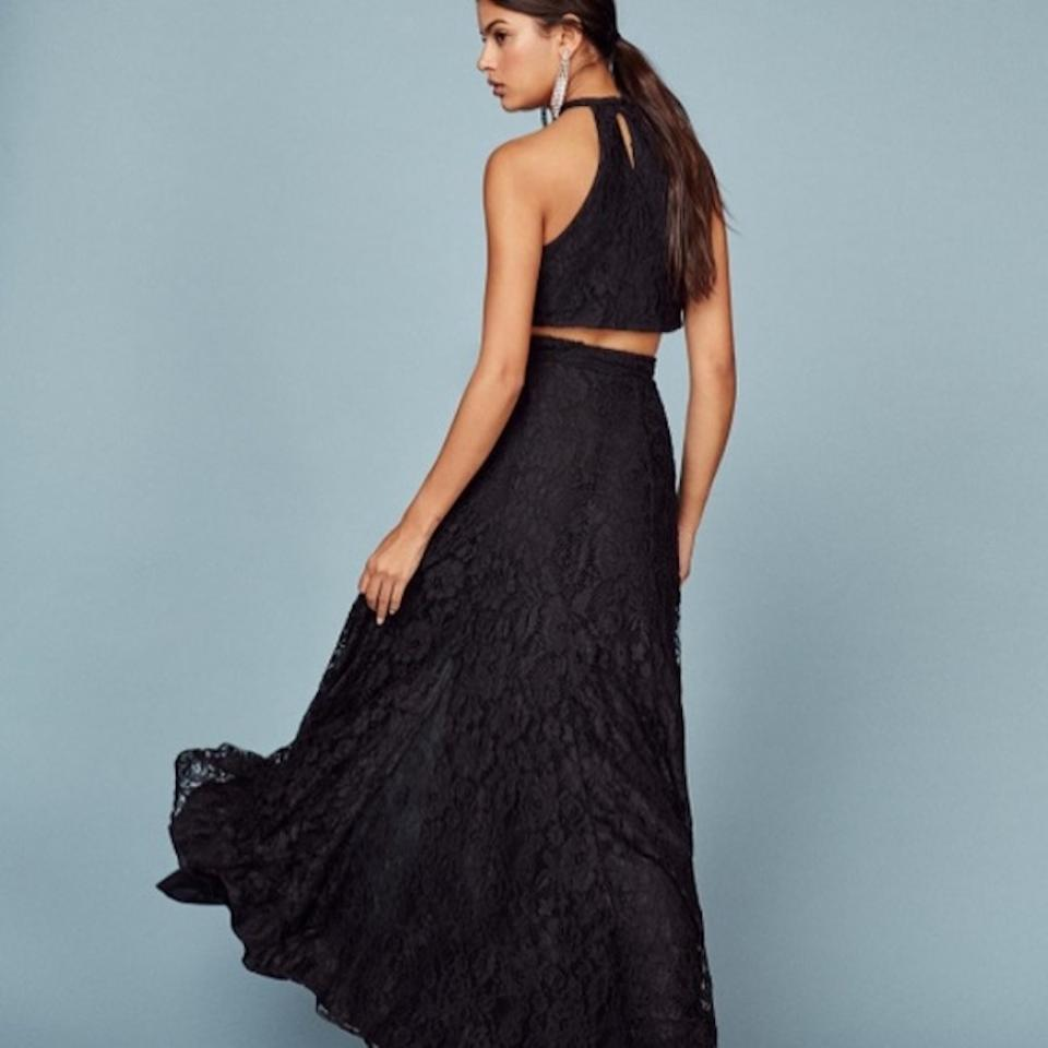 Reformation Black Two Piece Lace Crop Top Set Long Formal Dress Size ...