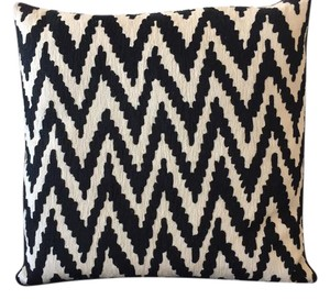 CB2 Modern Chic Minimal Zig Zag Pattern Large Cotton Pillow Cushion Cover