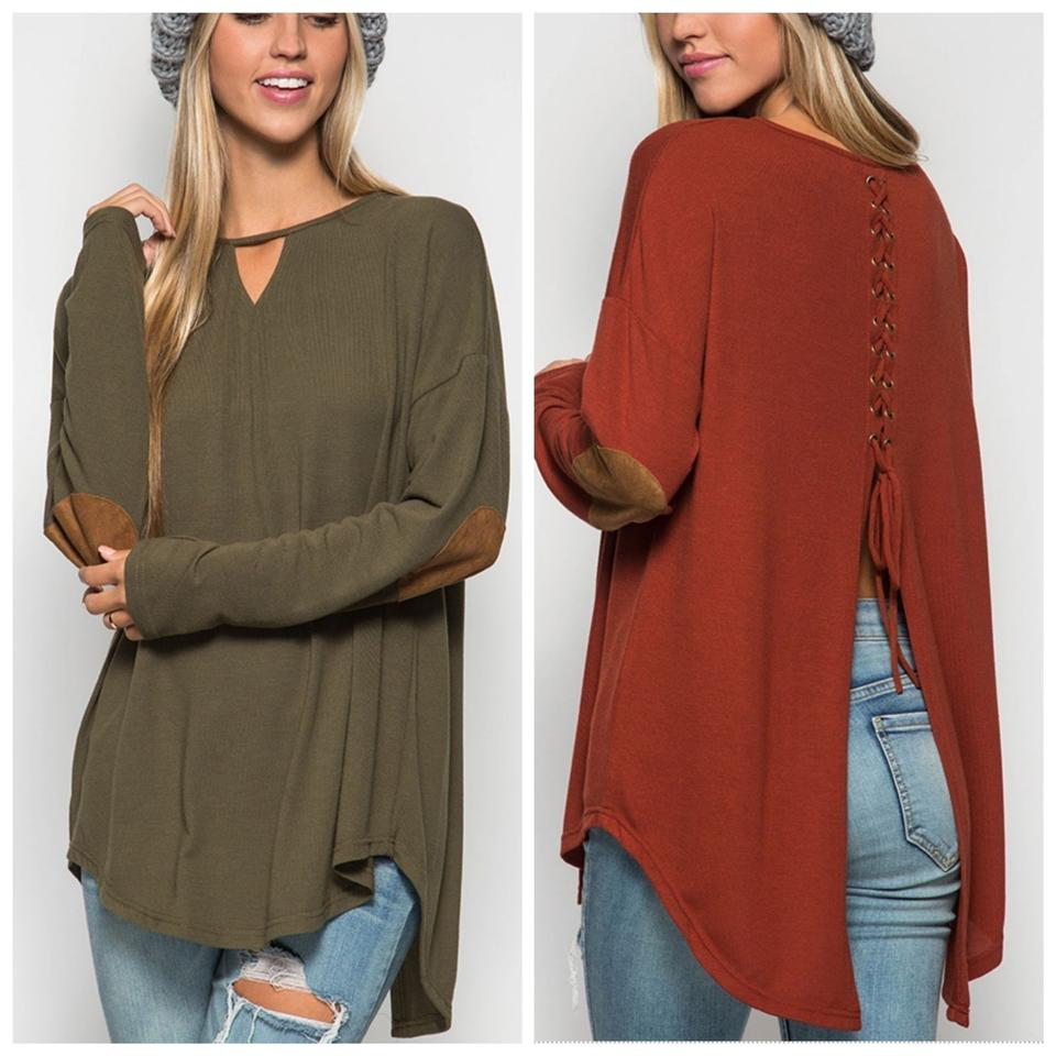 Lace Up Back Knit with Suede Elbow Patch Sexy Cute Green Olive ... 58c7f9164