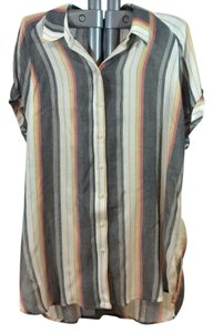 BDG Striped Lightweight Button Down Shirt Grey