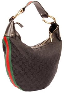 Gucci Mongoram Canvas Leather Bamboo Webbing Hobo Bag