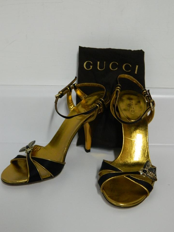 e90acf9d274a5 Gucci Black   Gold Bumble Bee Stappy Sandals Size US 6.5 Regular (M ...