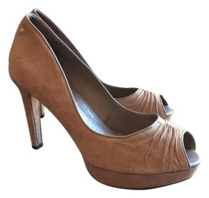 Rockport Suede Peep Toe Platform Comfortable Tan Pumps