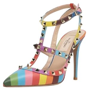 Valentino Rockstud Pointed Toe Rainbow Pumps