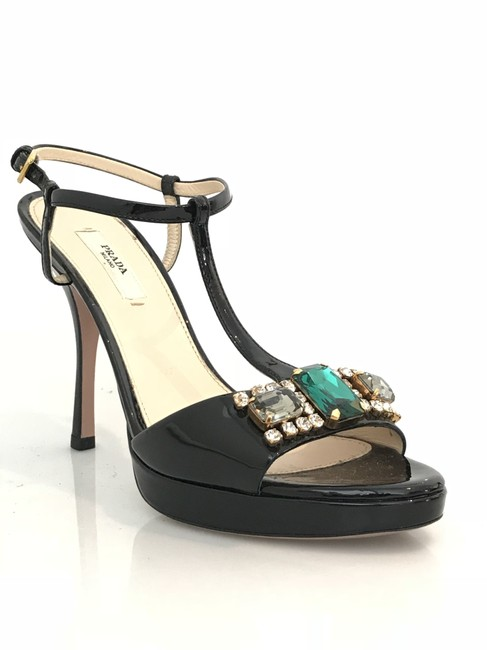 Item - Black Jeweled Patent Leather Sandals Formal Shoes Size EU 36 (Approx. US 6) Regular (M, B)