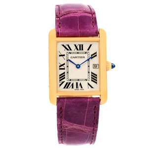 Cartier Cartier Tank Louis Large 18k Yellow Gold Violet Strap Watch W1529756