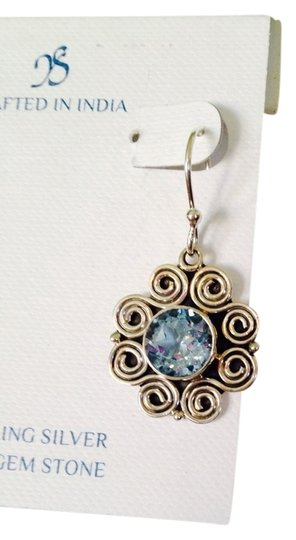 JS Collections JS Collections Faceted Blue Topaz (4 Cts) & Sterling Silver Scroll Design Dangle Earrings