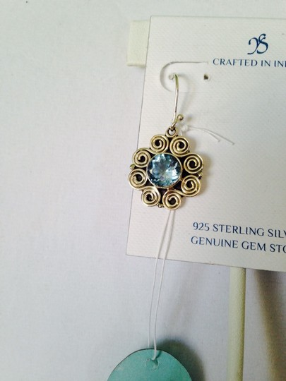JS Collections JS Collections Faceted Blue Topaz (4 Cts) & Sterling Silver Scroll Design Dangle Earrings Image 3