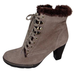 Blondo Taupe Suede Lace-up Bootie Boots