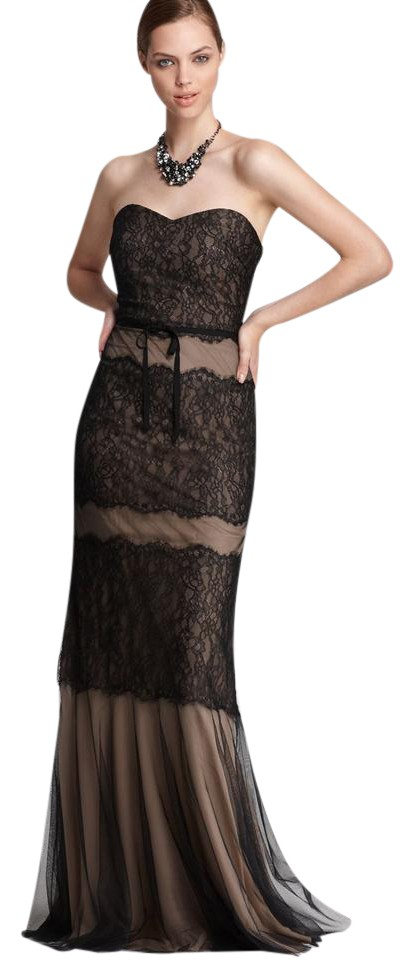 Monique Lhuillier Black Nude Belted Lace Sweetheart Gown Long Formal ...