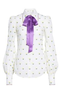 Marc Jacobs Rose Fil Coupe Bishop Sleeve Classic Office Top White with yellow and purple