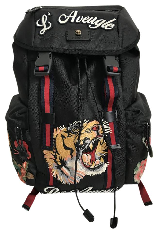 71fd522e282 Gucci Embroidered Tiger Blind For Love Floral Applique Black Canvas ...