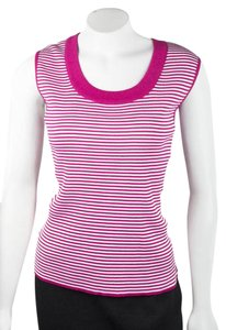 St. John Sleeveless Fuschia Knit Scoop Neck Top Pink/white